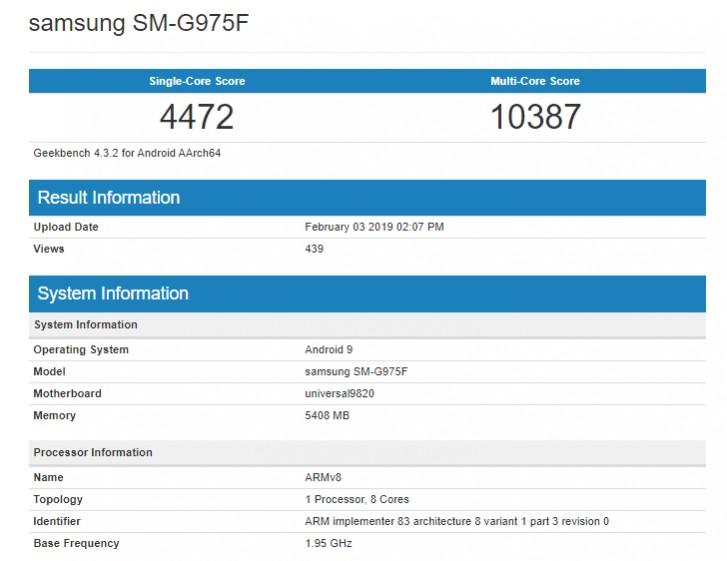 Wyniki benchmarku procesora Exynos 9820