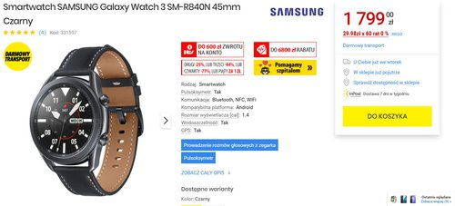 Samsung Galaxy Watch 3 kupisz ju¿ za 1799 z³otych