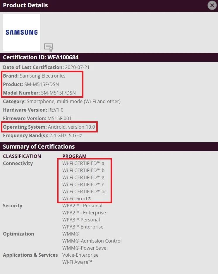 Smasung Galaxy M51 otrzyma³ certyfikat Wi-Fi