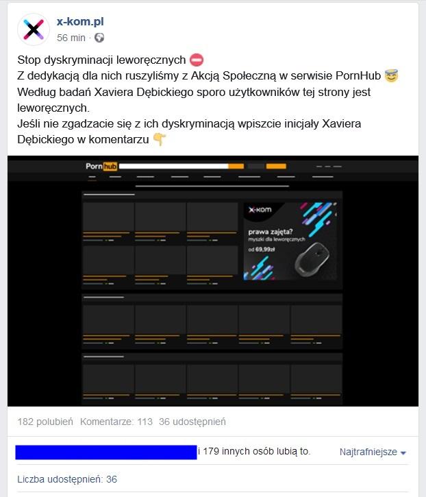 Myszka dla leworêcznych, czyli jak sklep X-kom reklamuje siê na Pornhub