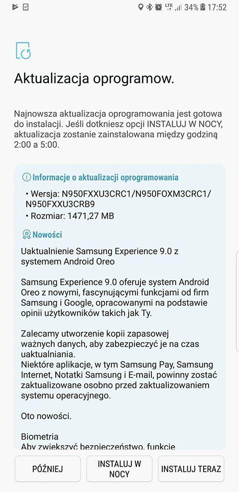 Aktualizacja Galaxy Note 8 do Androida 8.0 Oreo jest ju¿ do pobrania w Polsce