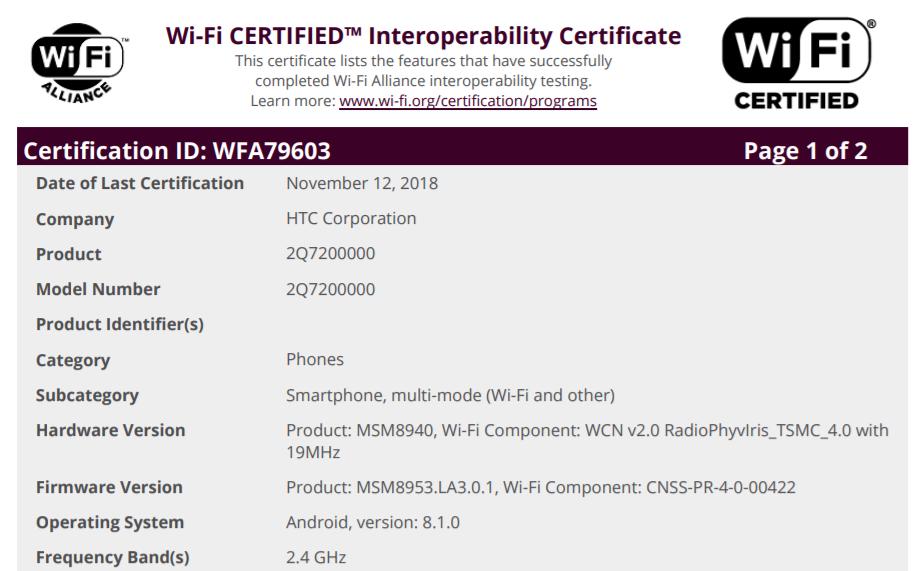 Nowy mid-ranger HTC otrzymuje certyfikat