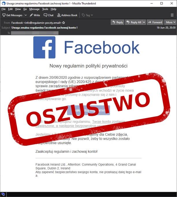 "CERT Polska ostrzega. Tym razem grozi nam oszustwo ""na nowy regulamin Facebooka"""