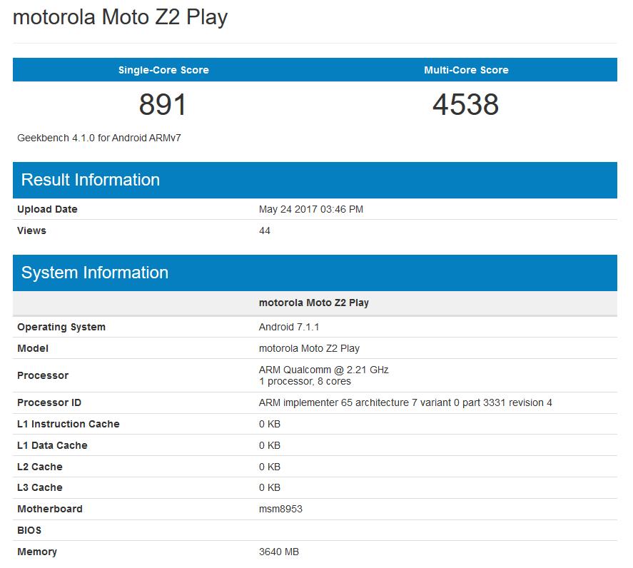 Moto Z2 Play pojawi³ siê na Geekbench