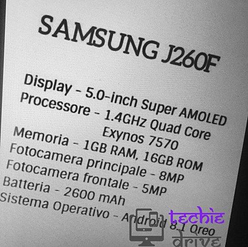 Nowe dane na temat specyfikacji  Samsung SM-J260F