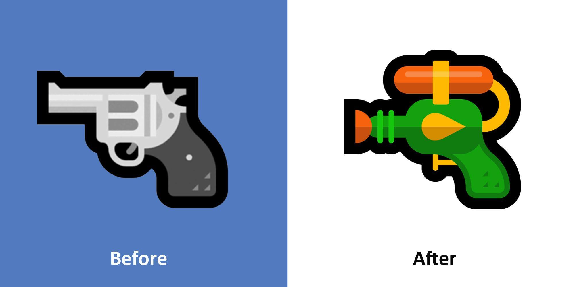 Windows zmienia swoje emoji pistoletu, bo pistolet wodny zamiast zwyk³ego zmniejszy czêstotliwo¶æ strzelanin