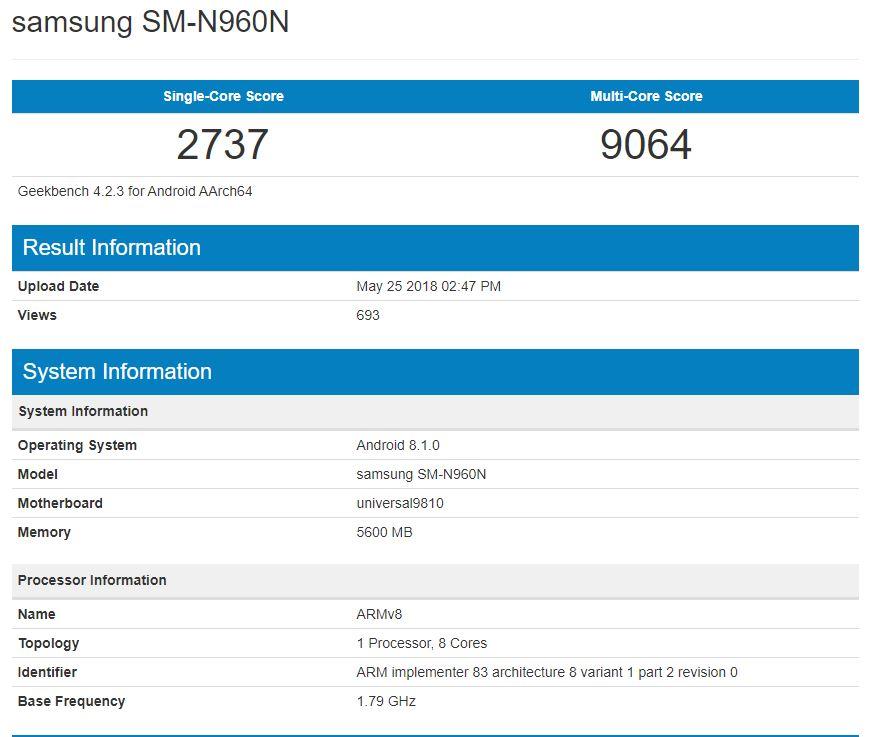 Mamy benchmark Samsung Galaxy Note 9