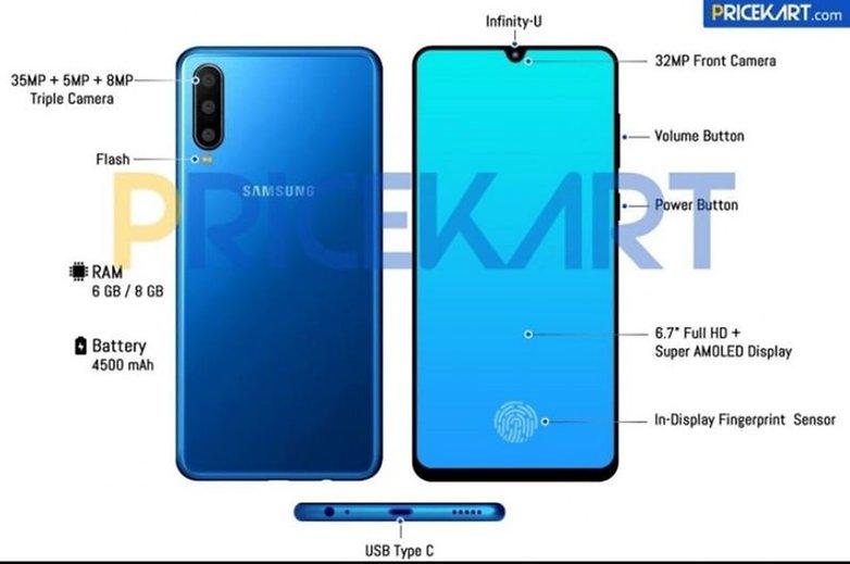Samsung Galaxy A60, render i specyfikacja. Spory ten smartfon...