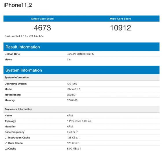 Na Geekbench pojawi³ siê benchmark telefonu, który mo¿e byæ iPhonem X