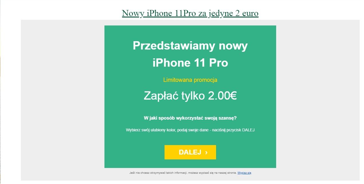 """""""Nowy iPhone 11Pro za jedyne 2 euro"""". Tiaa, a ¶winie lataj±"""