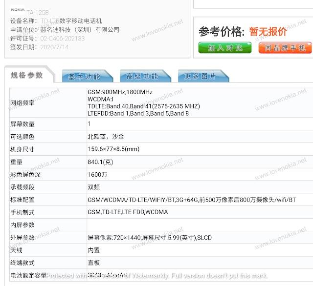 Nokia TA-1258 otrzyma³a certyfikat TENAA