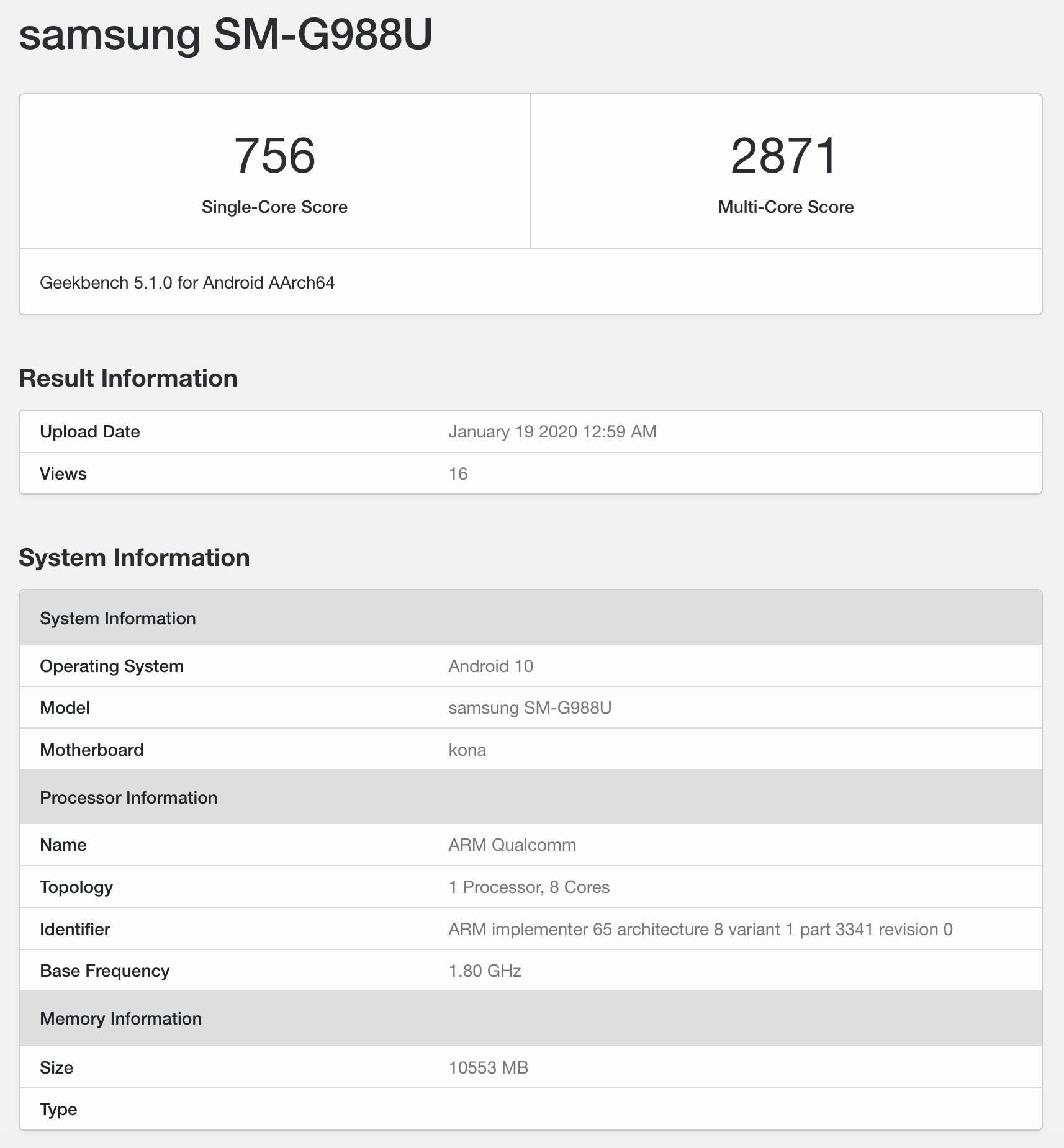 Wyciek³ certyfikat Geekbench Samsunga Galaxy S20 Ultra