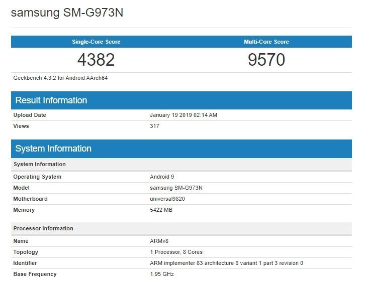 Samsung Galaxy S10 po benchmarku