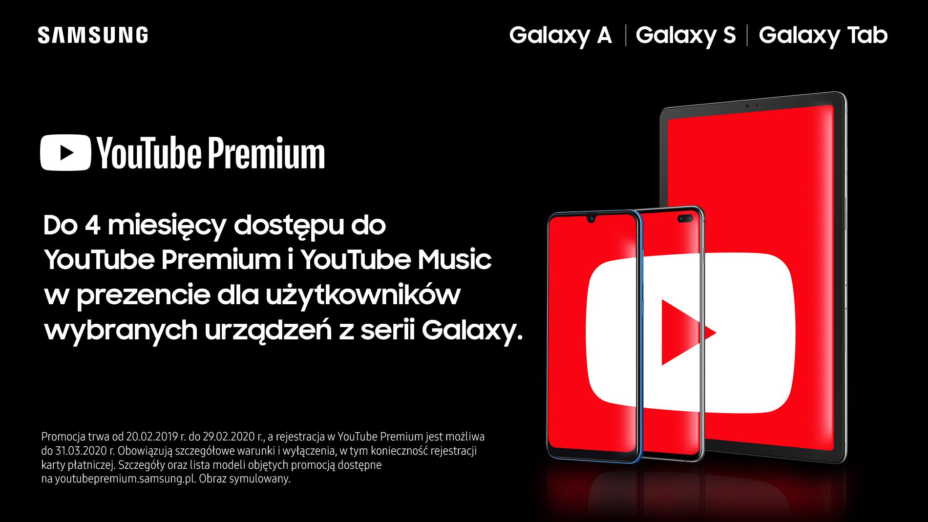 Posiadacze wybranych urz±dzeñ Samsung Galaxy otrzymaj± darmowe miesi±ce us³ugi YouTube Premium
