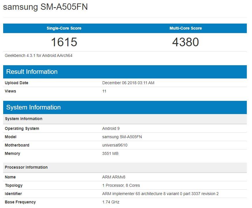 Wyciek³ benchmark Samsung SM-A505F