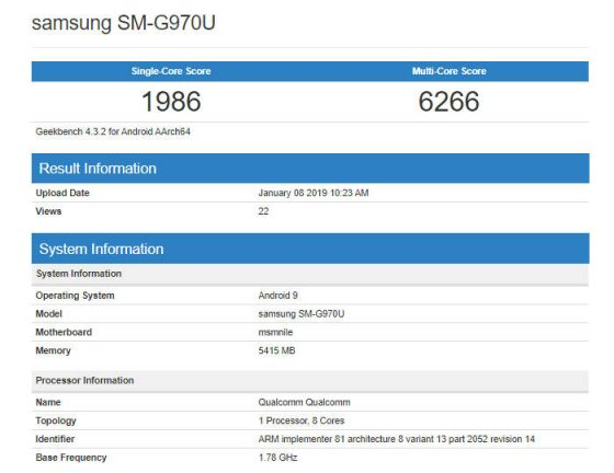 Samsung Galaxy S10 Lite w Geekbench