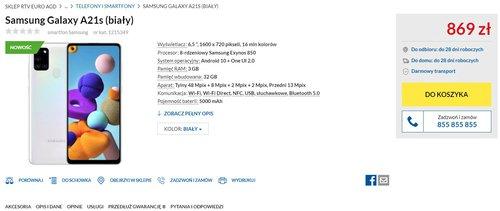 Znamy polsk± cenê Samsung Galaxy A21s