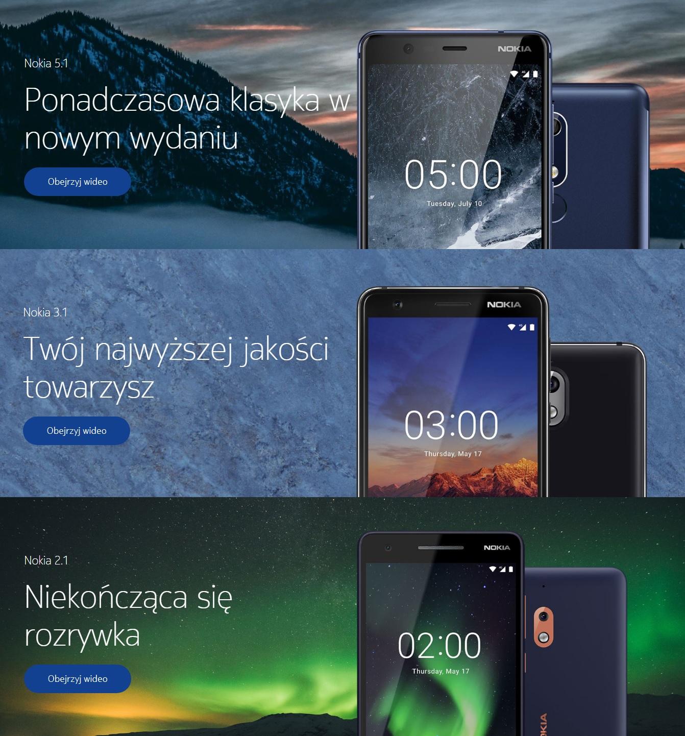 Nokia 5.1, 3.1 i 2.1 ju¿ wkrótce trafi± do Polski. Znamy ich ceny
