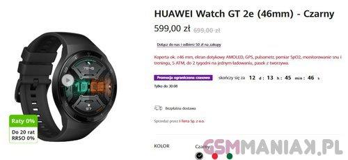 Polski sklep Huawei oferuje smartwatch Watch GT 2e w dobrej cenie