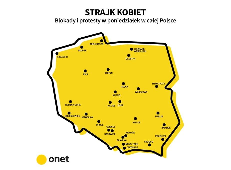 Uwaga, uwaga. Rozpocz±³ siê strajk kobiet. Zablokowane zostaj± ulice w licznych miastach Polski