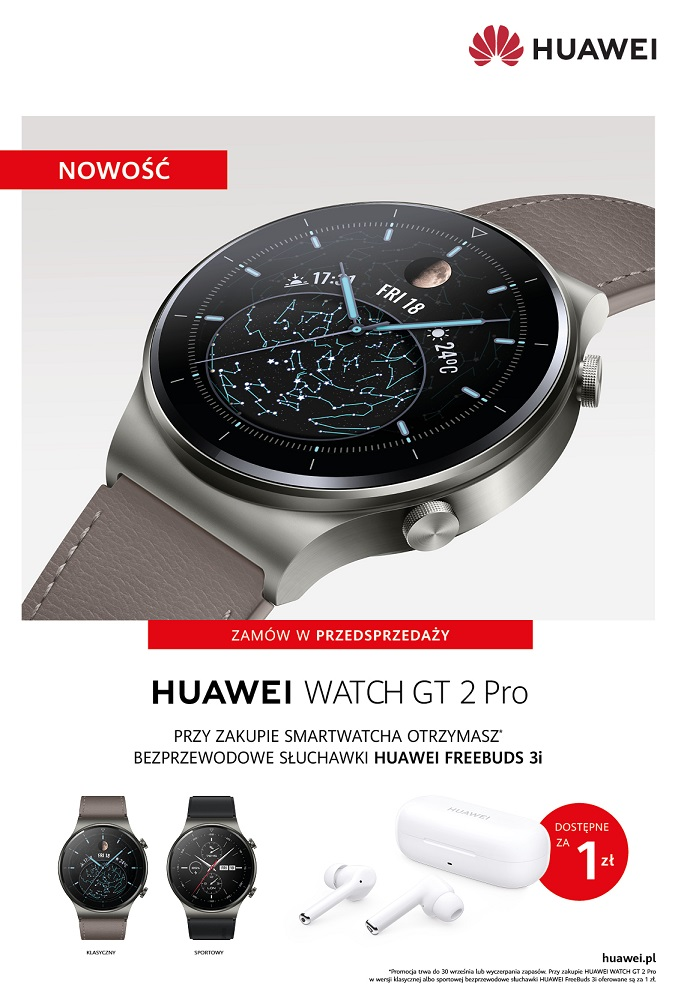 Huawei Watch GT 2 Pro do kupienia w Polsce. Specyfikacja, cena, bonus przedsprzeda¿owy
