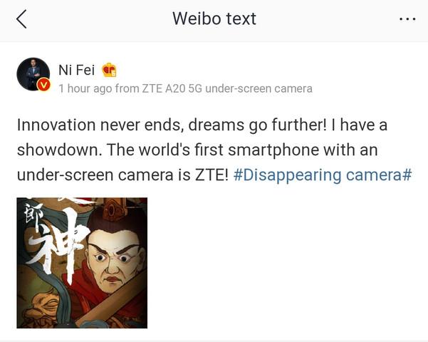 A20 5G od ZTE ma byæ pierwszym smartfonem z kamerk± pod ekranem