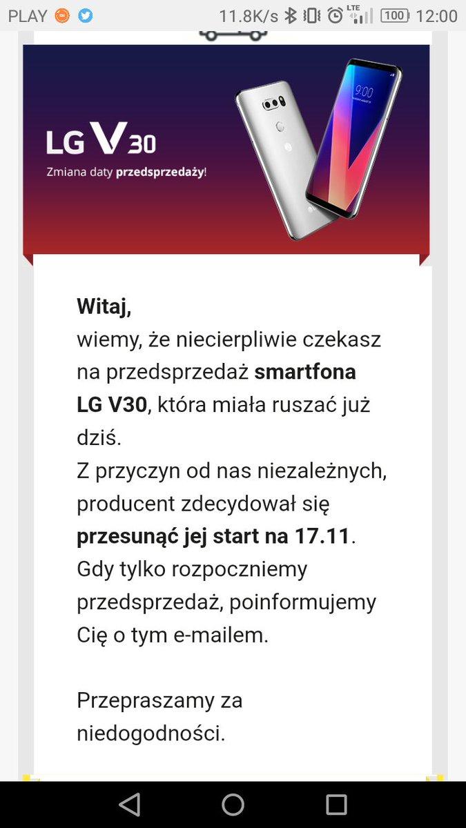 Przedsprzeda¿ LG V30 przesuniêta na drug± po³owê miesi±ca